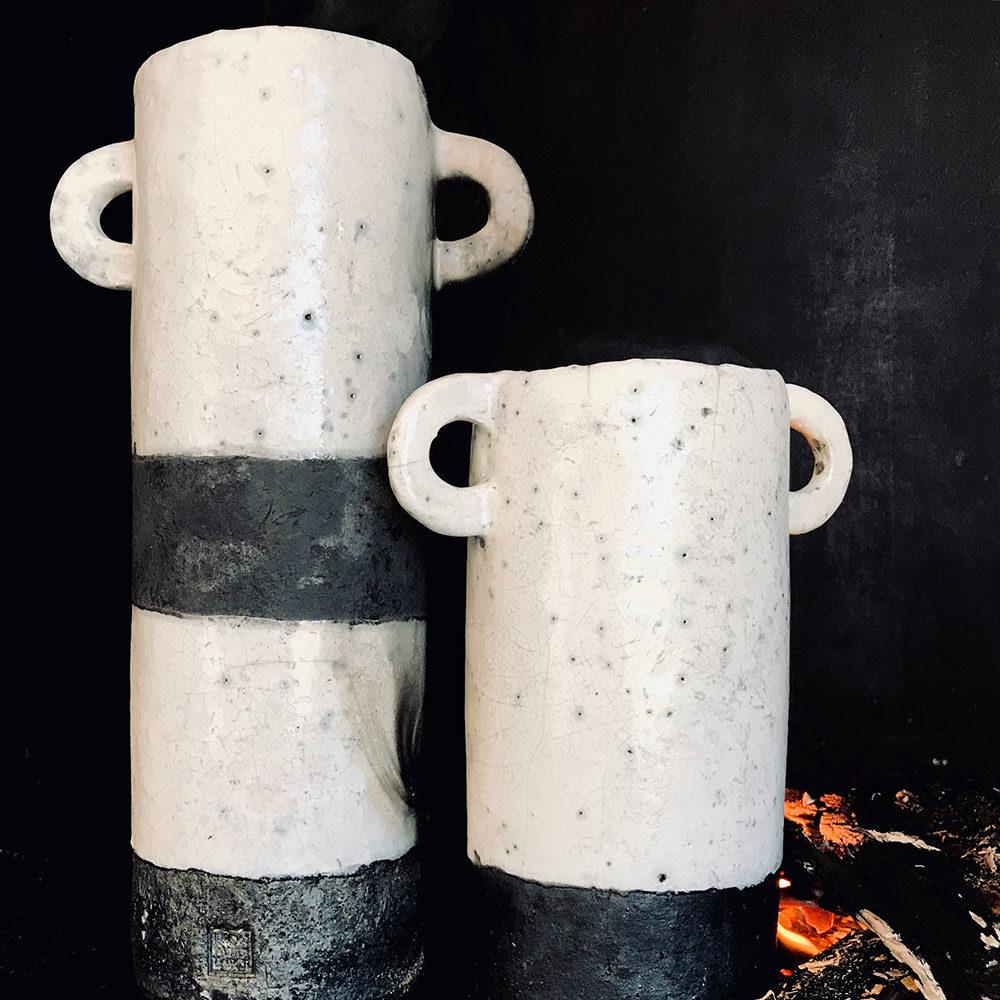 Medium Raku Roman Vase #leonpotterbakker