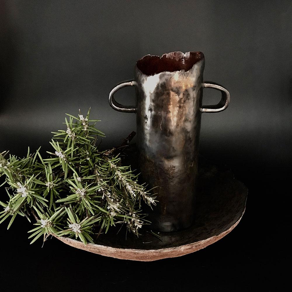 Copper Glaze Fruit Bowl & Saturated Gold Vase